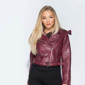 9d5e9d390d Jackets & Blazers - Set the Record straight Wine Biker Leather Jacket